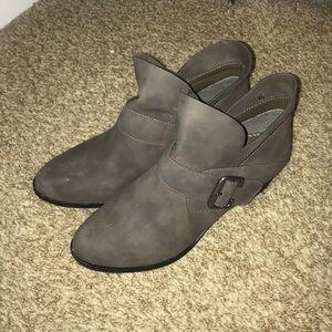 Grey buckle booties